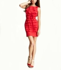 Adrianna Papell Red Ruffle Front Sheath Dress